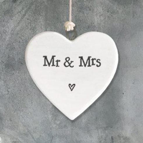 Porcelain heart-Mr and Mrs