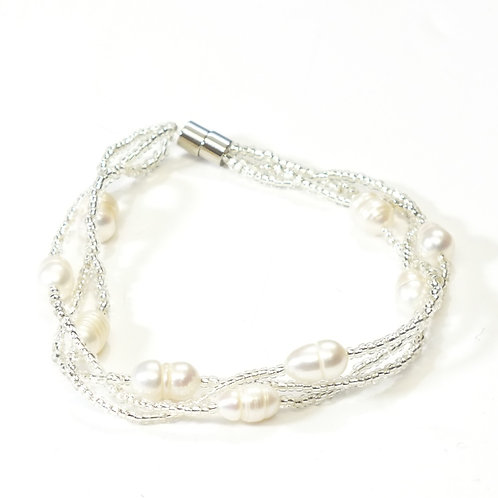Pearl Rhodium Magnetic Twisted Bracelet