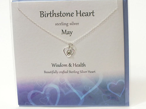 Birthstone Heart Necklace and Card - May
