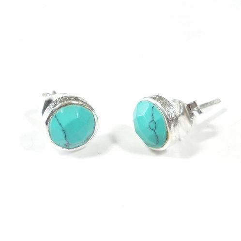 Semi Precious Stone Stud Earrings SS - Dec - Turquiose