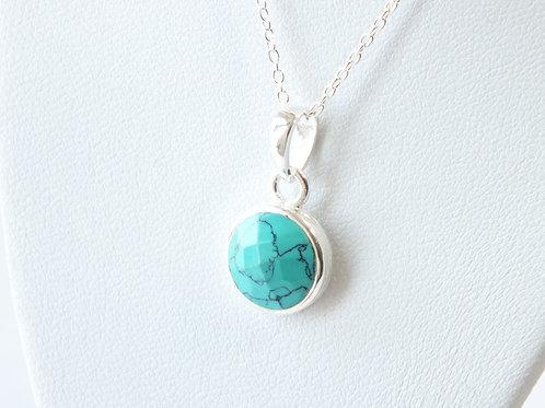"""Semi Precious Stone Necklace 16-18"""" SS Chain - Dec - Turquiose"""