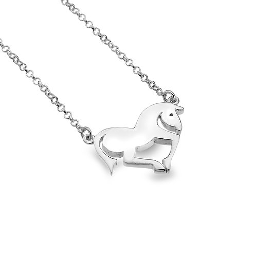 Sterling Silver Necklace Horse + Chain