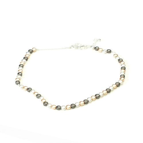 Rhodium/Rose Gold  & Hematite Small Disc Necklace