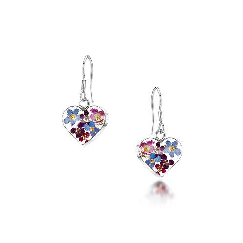 Sterling Silver Drop Earrings - Purple Haze - Small Heart
