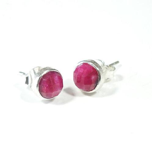 Semi Precious Stone Stud Earrings SS - Jul - Ruby