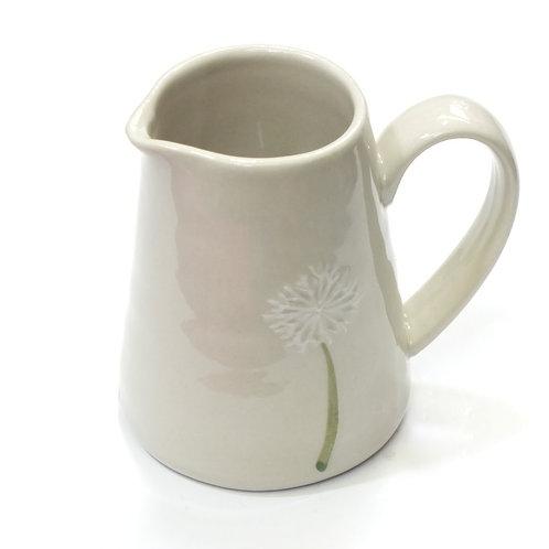 Ceramic Mini Jug W Flower White/Yellow/Blue Flower