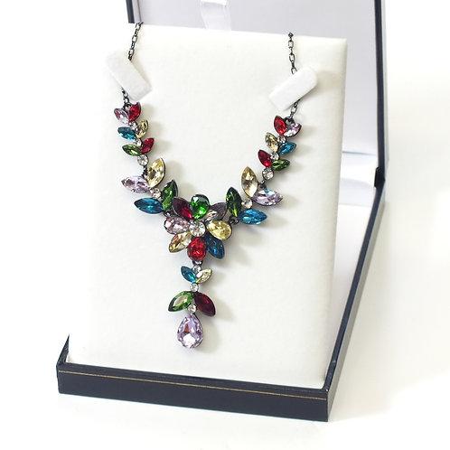 Bright Multicoloured Flower Glass Rhodium Necklace