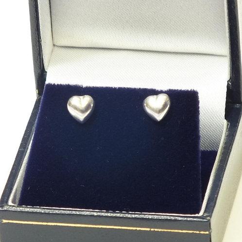 Silver Puff Heart Studs