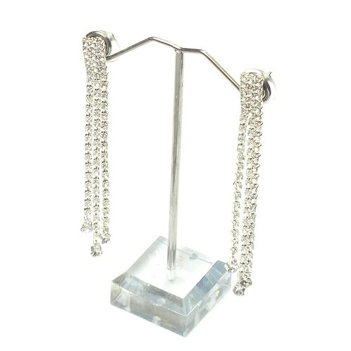 Rhodium Plated Diamante Drop Earrings with CZ's