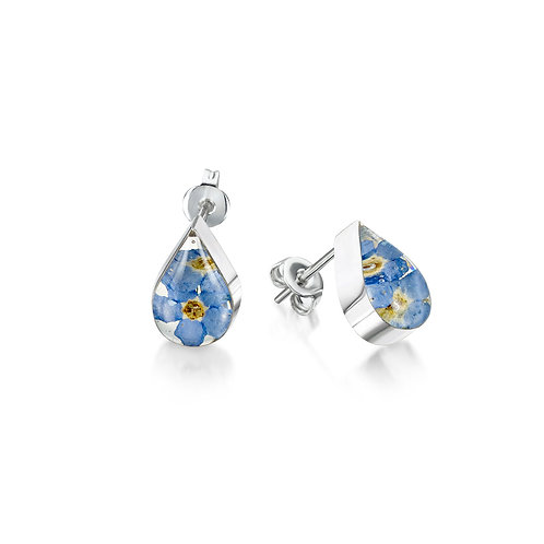 Sterling Silver Stud - Forget me not -Teardrop