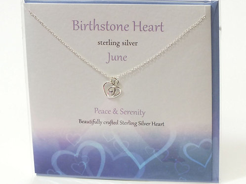 Birthstone Heart Necklace and Card - June