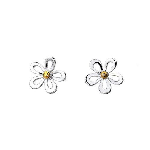 Sterling Silver Stud Earrings Daisy+Brass Detail