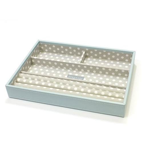 Classic Duck Egg Blue 4 Section Stacker With Grey Polka Dot Lining