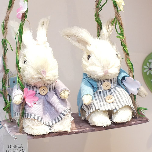 Two Bristle Bunnies On Swing Ornament