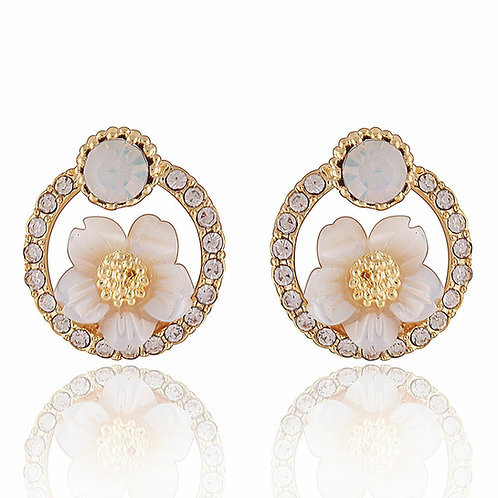 Circle Stud Earrings With Internal Floral Design