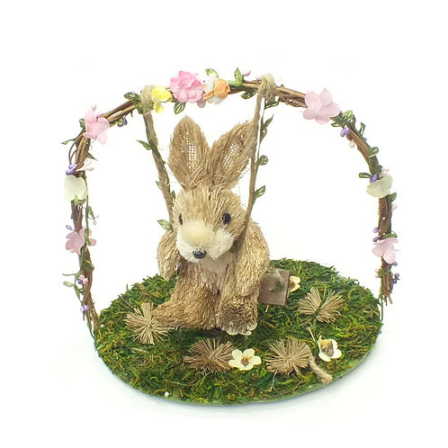 Bristle Bunny On Swing Arch Ornament