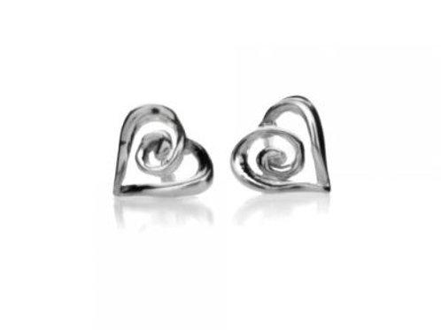 Sterling Silver Stud Earrings Heart/Spiral