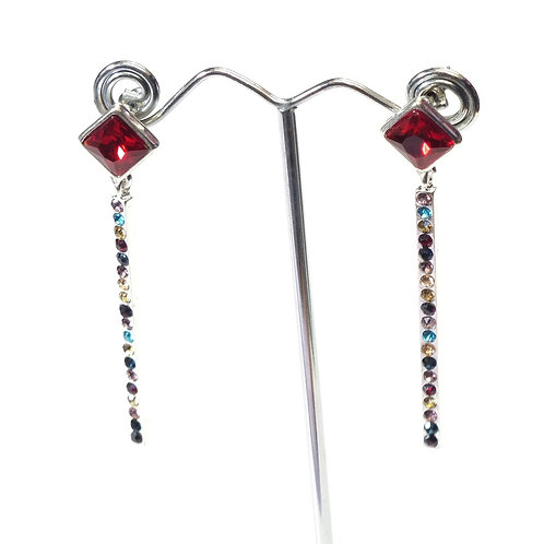Rhodium Plated Long Drop Earrings with Synthetic Ruby, Small Multi Coloured CZs