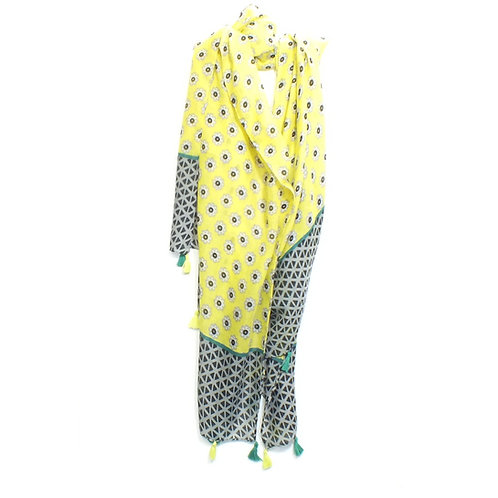 Scarf Daisy Print with Tassels in Yellow