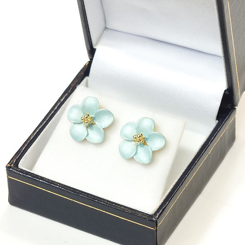 Pierced Stud Earring with Enamel Mint Flower and Gold plated detail