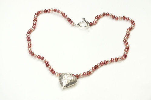 Plannished Sterling Silver Heart & Mixed Pearl Necklace