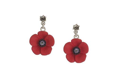 5 Petal Drop Poppy Sparkly Earrings