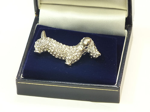 Sparkly CZ and  Rhodium Plated sausage Dog  Brooch