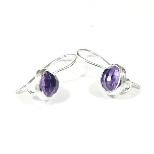 Semi Precious Stone Drop Earrings SS - Feb - Amethyst African/Brazilian