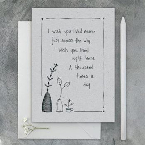 Ink flower card-Wish you lived nearer