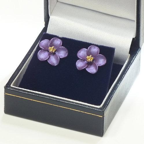 Pierced Gold Earrings Purple Flower