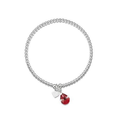 Silver Bead Bracelet - Single strand - Poppy