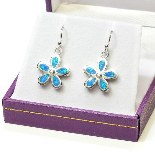 Blue Opal Flower Earrings