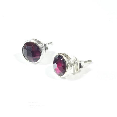 Semi Precious Stone Stud Earrings SS - Jan - Garnet
