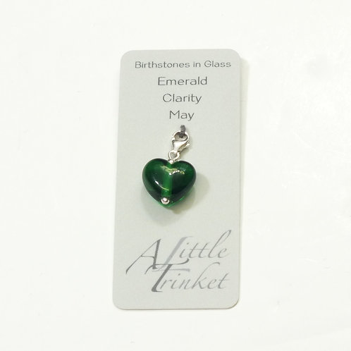 Birthstones in Glass - Cora Heart Clip on Charms Emerald - May