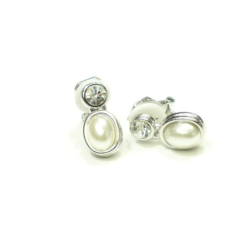 CZ and Oval Pearl Drop Clip on Earrings