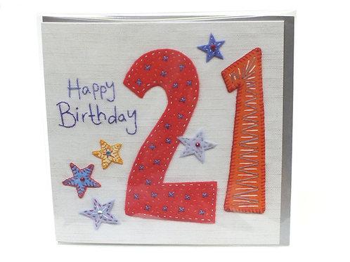 21st Birthday Stars  - Card