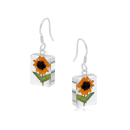 Silver Earrings - Sunflower - Rectangle