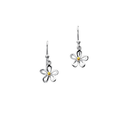 Stirling Silver Drop -  Daisy+Brass Stamen
