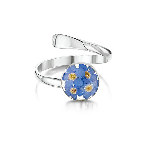 Sterling Silver Ring(Adjustable) Forget me not - Round