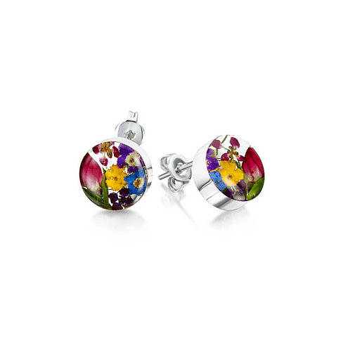 Sterling Silver stud Earrings with Mixed flowers