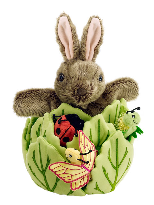 Rabbit in a Lettuce with 3 finger puppets - Ladybird, Caterpillar and Butterfly