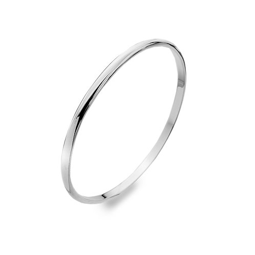 Sterling Silver Bangle - Simple Oval