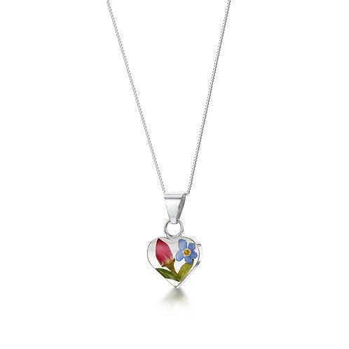 Sterling Silver Pendant - Rose & Forget-me-not - Small Heart
