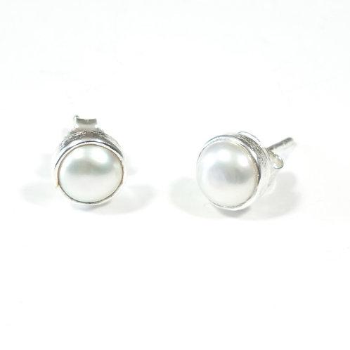 Semi Precious Stone Stud Earrings SS - Jun - Pearl/Chrysoprase