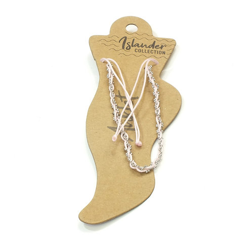 Anklet with Light Pink Threads Entwined with Silver ball chains.