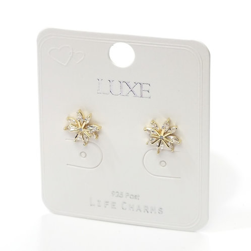Golden Wild Flower Stud Earrings