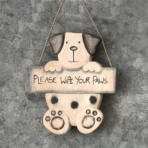 Hanging dog-Please wipe your