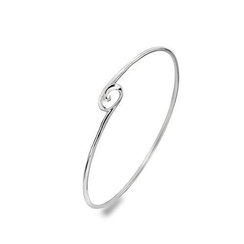 Sterling Silver Bangle - Organic Curved Wave
