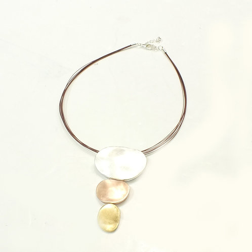 Copper Wire Necklace with Silver/Yellow Gold/Rose Gold Discs