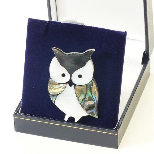 Paua Shell Owl Brooch